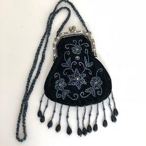 Antique Sequin Black Clutch.